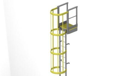 GRP Ladder with safety cage